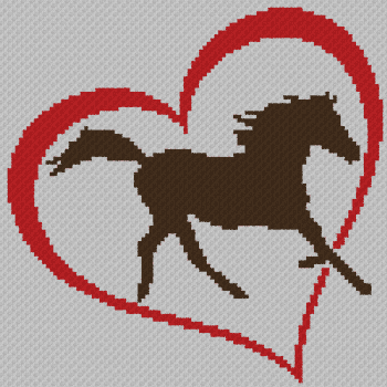 Horse Love - C2C Written Graphghan Pattern - 03 (102x102)