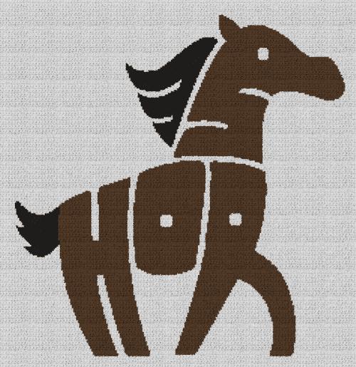Horse Word Art - Single Crochet Written Graphghan Pattern - 07 (230x237)