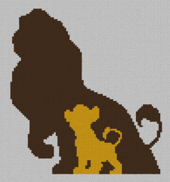 Simba/Mufasa (The Lion King) - C2C Written Graphghan Pattern - 02 (98x105)