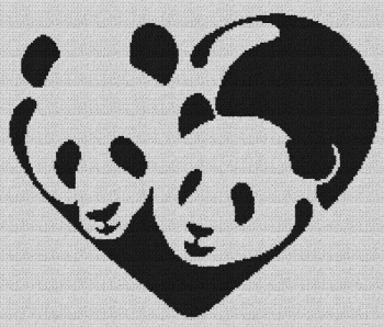 Panda Love/Heart - Single Crochet Written Graphghan Pattern - 07 (200x170)