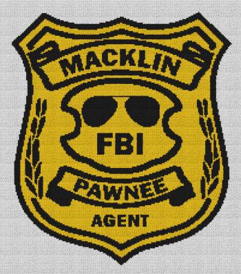 Burt Macklin FBI Badge (Parks & Recreation) - Single Crochet Written Graphghan Pattern - 01 (193x221)