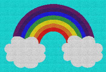 Rainbow and Clouds - Single Crochet Written Graphghan Pattern - 02 (254x170)