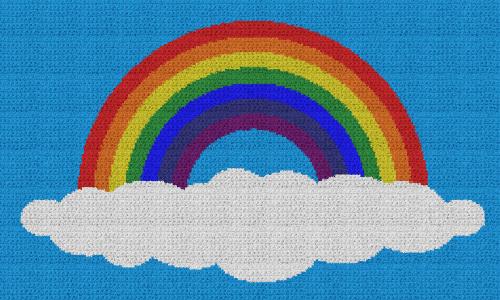 Rainbow on a Cloud - Single Crochet Written Graphghan Pattern - 04 (230x134)