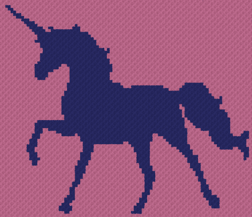 Unicorn Silhouette - C2C Written Graphghan Pattern - 01 (95x82)