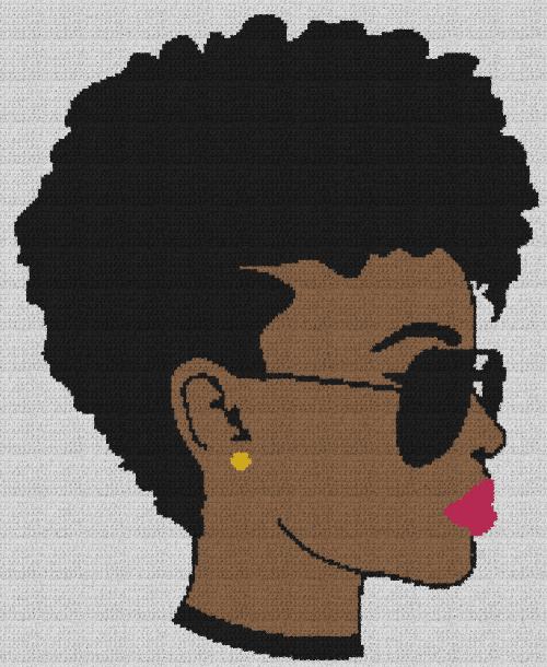 Black Woman in Shades - Single Crochet Written Graphghan Pattern - 09 (187x228)