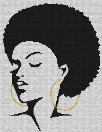 Black Woman With Afro - Single Crochet Written Graphghan Pattern - 10 (178x230)