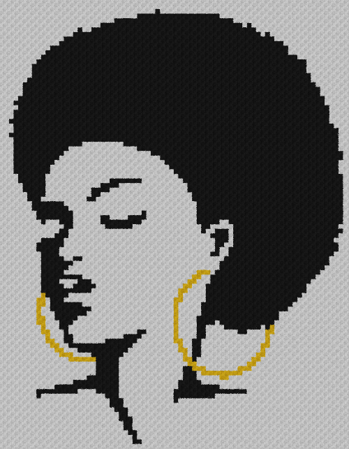 Black Woman With Afro - C2C Written Graphghan Pattern - 10 (77x99)