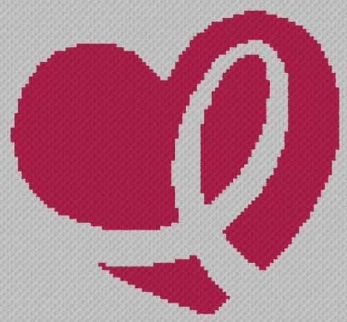 Breast Cancer Heart - C2C Written Graphghan Pattern - 09 (96x89)