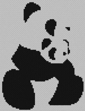 Panda & Cub - C2C Written Graphghan Pattern - 05 (76x99)
