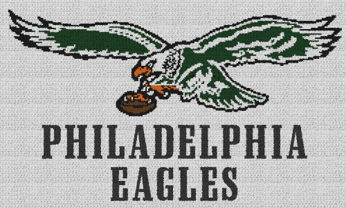 Classic Philadelpia Eagles Logo - Single Crochet Written Graphghan Pattern - 02 (250x150)