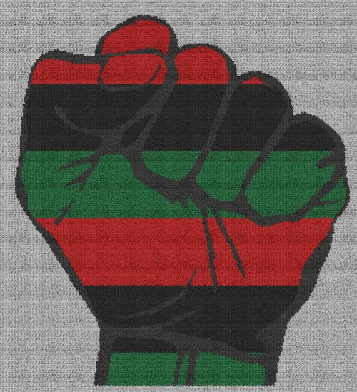 Black Pride Fist / Pan-African Flag - Single Crochet Written Graphghan Pattern - 03 (234x257)