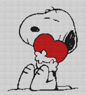 Snoopy Hugging Heart (Peanuts) - Single Crochet Written Graphghan Pattern - 07 (150x165)