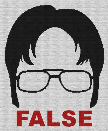 Dwight Schrute - False (The Office) - Single Crochet Written Graphghan Pattern - 01 (210x256)