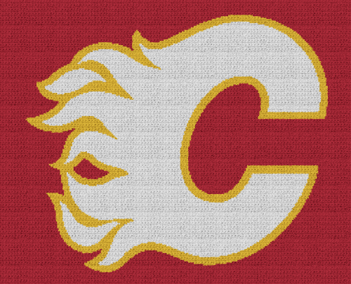 Calgary Flames - Single Crochet Written Graphghan Pattern - 03 (250x200)