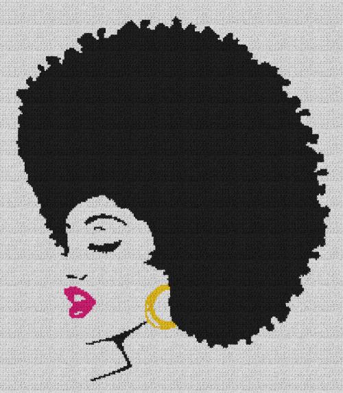 Black Woman with Afro - Single Crochet Written Graphghan Pattern - 11 (200x230)