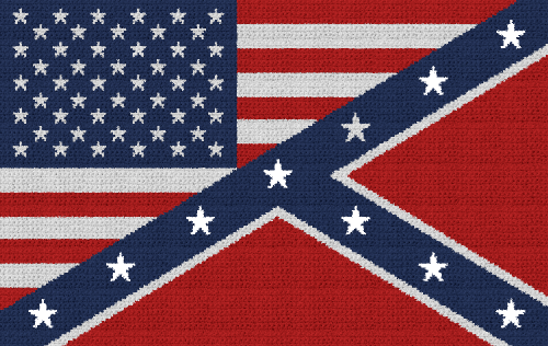 American/Confederate Flag Combo - Single Crochet Written Graphghan Pattern - 07 (250x158)