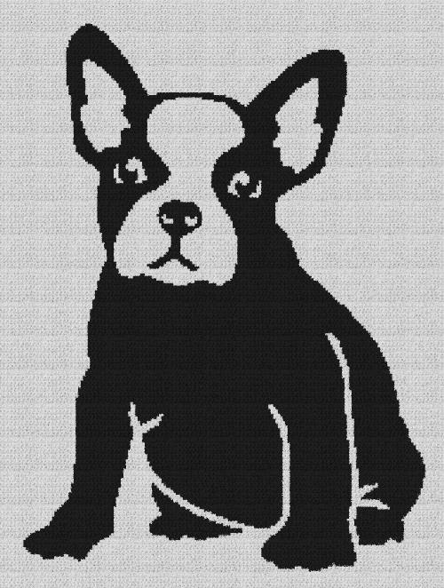 French Bulldog (Frenchie) - Single Crochet Written Graphghan Pattern - 01 (179x240)