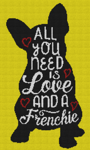 All You Need Is Love and a Frenchie - Single Crochet Written Graphghan Pattern - 02 (145x240)