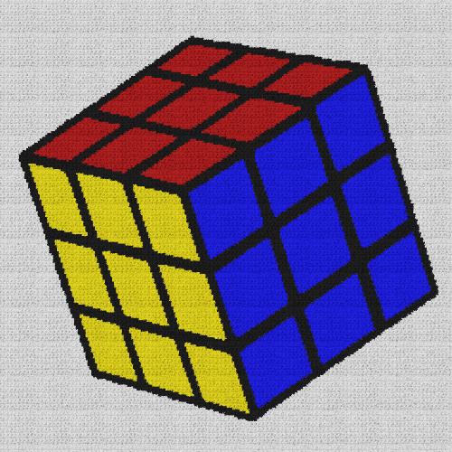 Rubik's Cube - Single Crochet Written Graphghan Pattern - 02 (230x230)