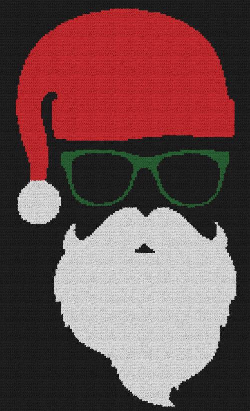 Cool Santa Claus - Single Crochet Written Graphghan Pattern - 03 (140x230)