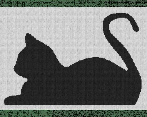 Cat Resting - Single Crochet Written Graphghan Pattern - 01 (205x140)