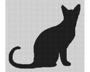 Cat Sitting Silhouette - Single Crochet Written Graphghan Pattern - 02 (177x160)