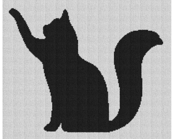 Cat Pawing Silhouette - Single Crochet Written Graphghan Pattern - 03 (195x159)