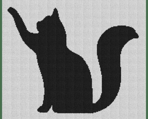 Cat Pawing Silhouette - Single Crochet Written Graphghan Pattern - 03 (195x159)