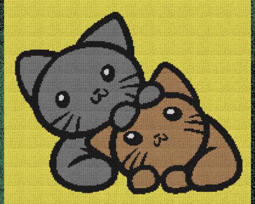 Adorable Kittens - Single Crochet Written Graphghan Pattern - 05 (195x160)