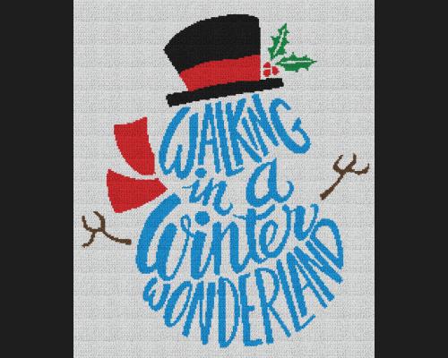 Walking in a Winter Wonderland Snowman - Single Crochet Written Graphghan Pattern - 09 (210x240)