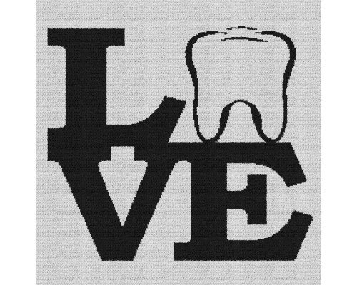 Dentist (Tooth) Love - Single Crochet Written Graphghan Pattern - 02 (240x240)