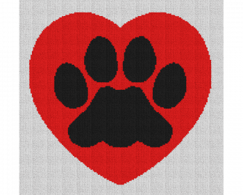 Dog Paw Heart - Single Crochet Written Graphghan Pattern - 04 (156x148)