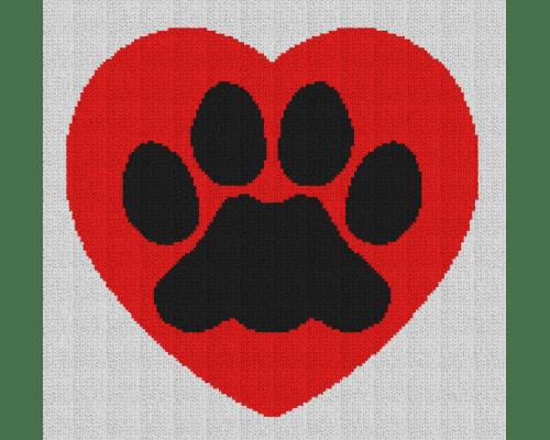 Dog Paw Heart - Single Crochet Written Graphghan Pattern - 04 (156x148)