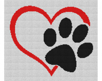 Dog Love Heart - Single Crochet Written Graphghan Pattern - 05 (155x134)