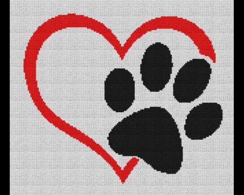 Dog Love Heart - Single Crochet Written Graphghan Pattern - 05 (155x134)