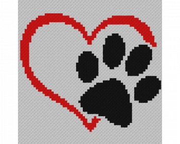 Dog Love Heart - C2C Written Graphghan Pattern - 05 (65x65)