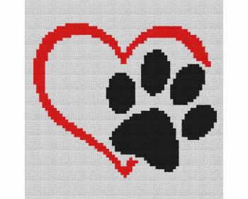 Dog Love Heart Pillow - Single Crochet Written Graphghan Pattern - 05 (220x250)