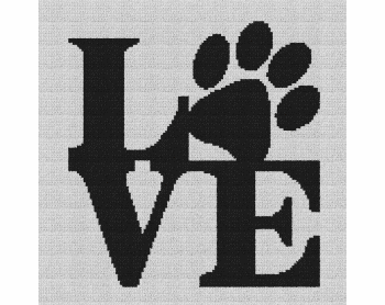 Dog Love - Single Crochet Written Graphghan Pattern - 06 (135x134)