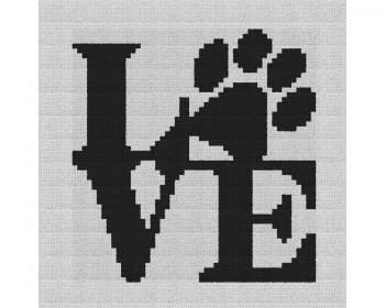 Dog Love Pillow - Single Crochet Written Graphghan Pattern - 06 (60x60)