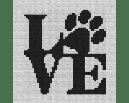 Dog Love Pillow - Single Crochet Written Graphghan Pattern - 06 (60x60)