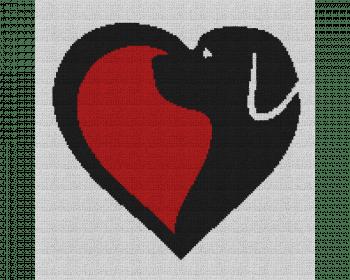 Dog Love Heart - Single Crochet Written Graphghan Pattern - 09 (150x150)