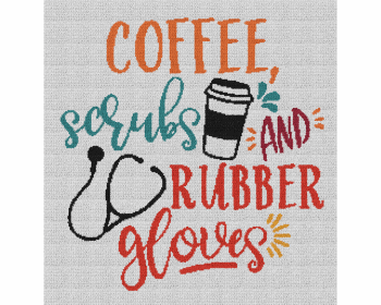 Coffee, Scrubs & Rubber Gloves - Single Crochet Written Graphghan Pattern - 03 (240x250)
