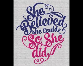 She Believed She Could, So She Did - Single Crochet Written Graphghan Pattern - 01 (200x240)