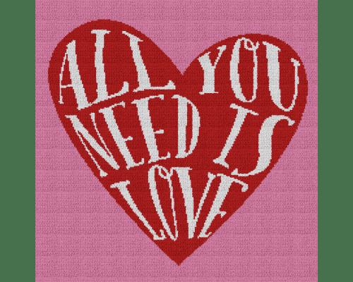 All You Need Is Love Heart - Single Crochet Written Graphghan Pattern - 03 (220x220)