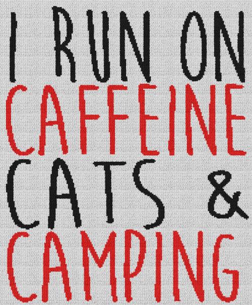 I Run on Caffeine, Cats & Camping - Single Crochet Written Graphghan Pattern - 09 (206 x 250)