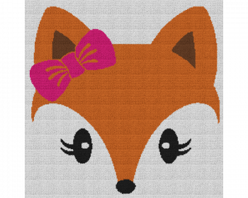 Cute Girl Fox - Single Crochet Written Graphghan Pattern - 01 (240 x 240)