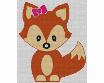 Cute Baby Girl Fox - Single Crochet Written Graphghan Pattern - 02 (191 x 227)