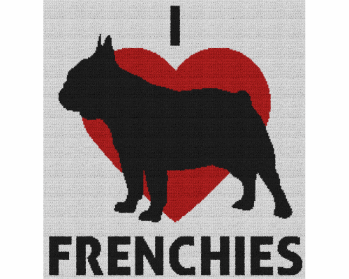 I Love Frenchies - Single Crochet Written Graphghan Pattern - 03 (225 x 240)