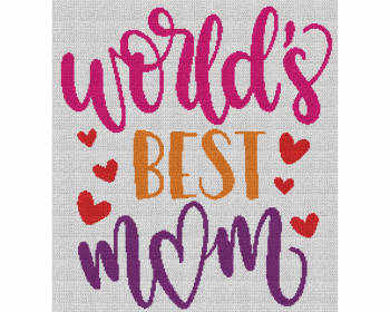 World's Best Mom - Single Crochet Written Graphghan Pattern - 21 (220 x 240)