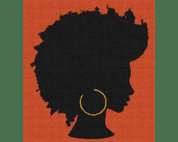 Natural Black Woman - Single Crochet Written Graphghan Pattern - 13 (225 x 245)